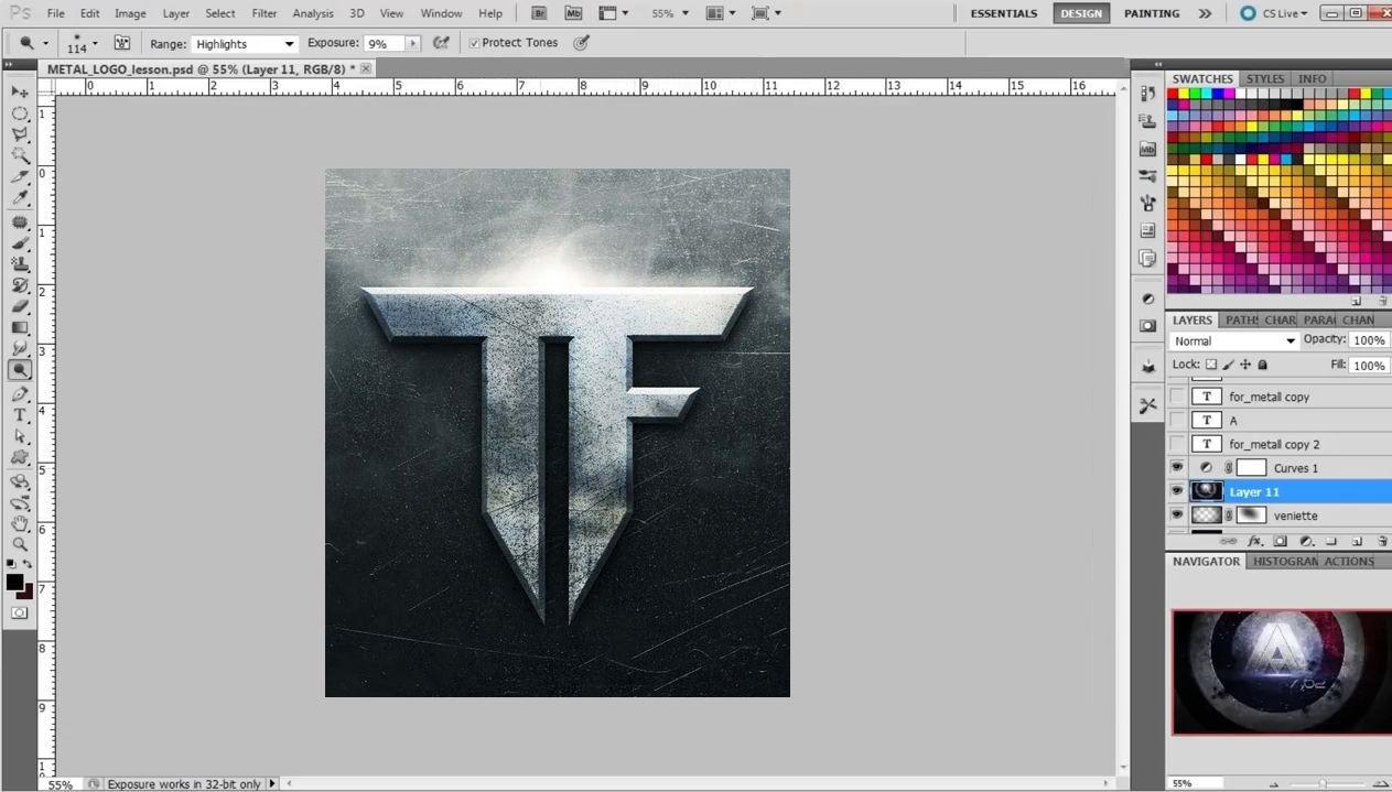 Как в фотошопе сделать металлический логотип